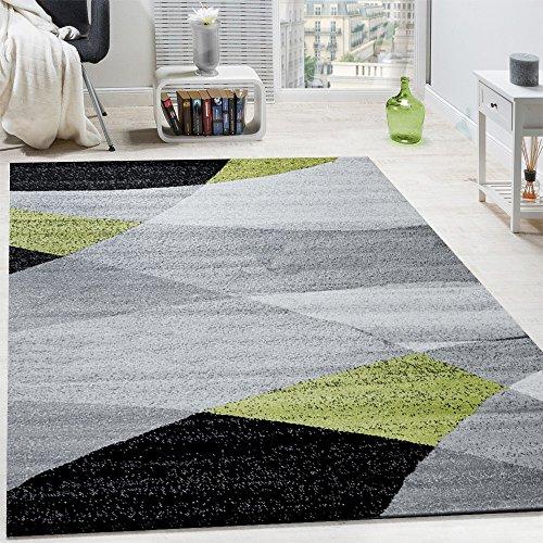 Tappeto di design moderno motivo onde arcuate linee pelo corto mélange verde, dimensione:80x150 cm