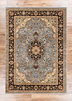 Noble Medallion Green Persian Floral Oriental Formal Traditional Area Rug 200 x 290 cm Easy to Clean Stain Fade Resistant Shed Free Modern Contemporary Transitional Soft Living Dining Room Rug by Well Woven