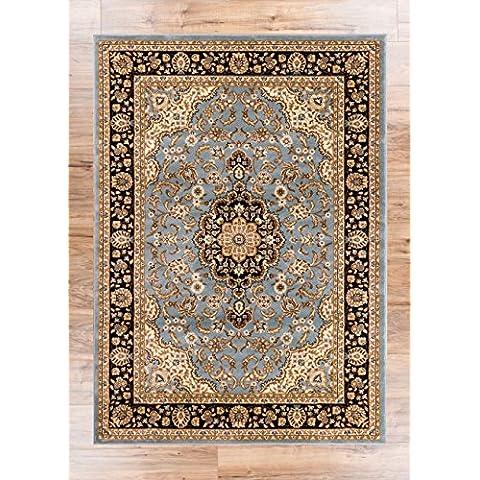 Noble Medallón Rojo y Negro Persa Oriental Floral Formal tradicional área alfombra/de manchas de fácil de limpiar resistente a la decoloración libre de cobertizo moderno y contemporáneo suave de transición Living Comedor Alfombra