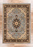 Noble Medallion Light Blue Persian Floral Oriental Formal Traditional Area Rug 160 x 220 cm Easy to Clean Stain Fade Resistant Shed Free Modern Contemporary Soft Living Dining Room Rug