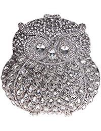 Damen Clutch Abendtasche Handtasche Geldbörse Luxus Funkelt Glitzertasche Eule Tasche mit wechselbare Trageketten von Santimon Pink Santimon