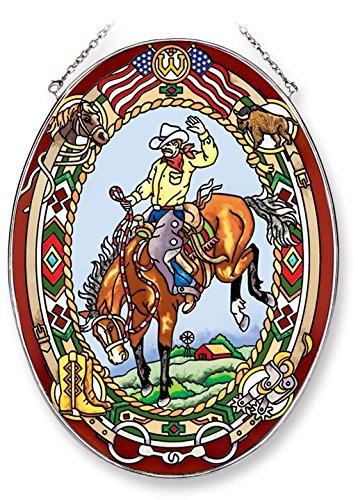 Amia 42212handgemaltes Glas Echt Rodeo Ride, handgemaltes Glas Suncatcher, 22,9cm Hohe
