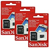 3x Genuine SanDisk 32GB MicroSDHC High Speed Class 4 Card with MicroSD to SD Adapter