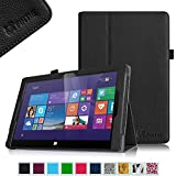 """Fintie Premium Vegan Leather Folio Stand Cover with Stylus Loop for IROPRO 10.1 Inch Windows 10 Tablet / Fusion5 10"""" Windows Tablet PC (10"""" IPS (1280*800)) - Black"""