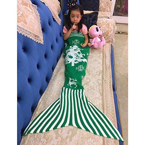 candora Mermaid Weihnachten Kinder Meerjungfrau Schwanz Sofa Decke, Klimaanlage Decke Decke Teen Schlaf Tasche Bett Snuggle Haushaltsartikel Polyester stricken Decke Decke 145* 75cm/144,8x 76,2cm Rot-2 (Rote Geometrische Tröster)
