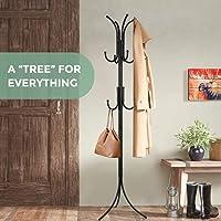 ADA Coat Rack Coat Tree Hat Hanger Holder 11 Hooks for Jacket Umbrella Tree Stand with Base Metal (Black)