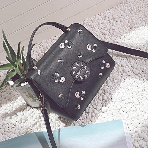 Schulter Handtaschen Frauen Handtaschen Bestickte Tasche Messenger Mode-Paket Schwarz