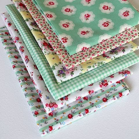 6 Fat Quarters - Rose Jardin - Mint green, pink and a hint of pale yellow. 100% Cotton Fabric. Ideal for Quilting and Craft Sewing (includes free patchwork