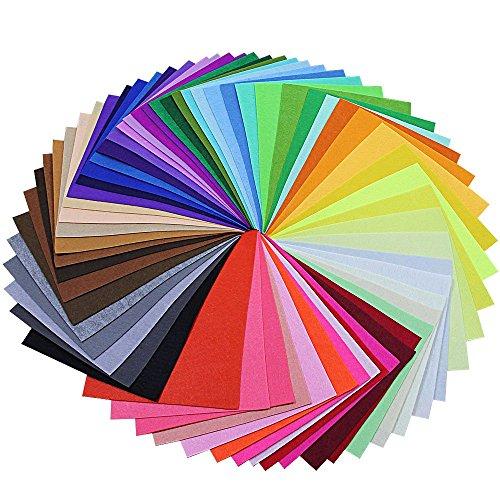 BUZIFU Fieltro para Manualidades 60 Colores 230 x 300 mm No Tejido Tela de Fieltro, Suave y Puede Cortar Libremente, Juguetes para Niños, Ideales para Hacer DIY Muñequitos y Manualidades
