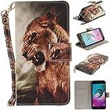 Qiaogle Téléphone Coque - PU Cuir rabat Wallet Housse Case pour Samsung Galaxy A5 (2016) / A5 (2016) Duos / A510 (5.2 Pouce) - TX86 / Lion