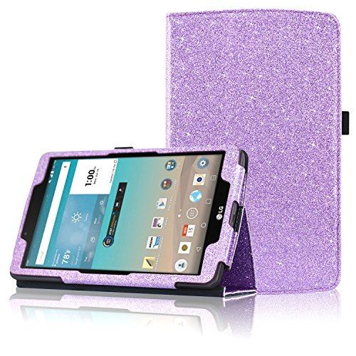 acdream LG G Pad f 8.0 Schutzhülle, Folio Premium PU Leder Schutzhülle für LG G Pad f 8.0 Tablet [at & T 4 G LTE Modell v495 und T-Mobile 4 G LTE Modell v496, 2015 Version, Purple Star of Paris