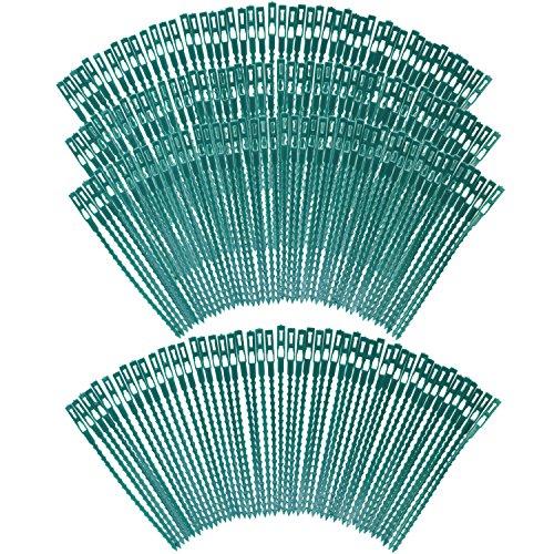 COM-FOUR® 200x Pflanzenbinder aus Kunststoff, grüne Pflanzenbinder, Pflanzenclips, 17 cm (200 Stück - 17 cm)
