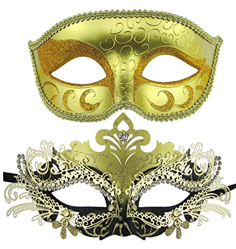 Venezianische Masken, Halloween-Kostüm, Mardi Gras,1Paar Gold+Gold-Black