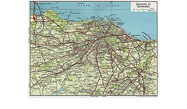 Leith Scotland Map.Environs Of Edinburgh Vintage Map Plan Leith Dalkeith Scotland