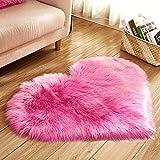 Hukz Herzform Lammfell Schaffell Teppich, Fell Schaffell Lammfell Imitat, Langes Haar Nachahmung Wolle Bettvorleger Sofa Matte 40 x 50 cm (G)