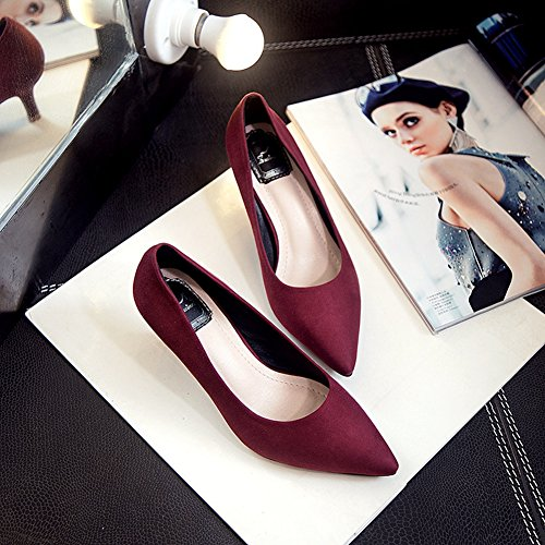 Damen Pumps Slip On Spitze Warme Stilettos Party Brautschuhe Rot