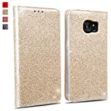 OKZone Galaxy S7 Edge Hülle, Luxus Glitzer Bling Premium PU Leder Handyhülle Brieftasche-Stil Magnetisch Folio Flip Etui Brieftasche Hülle Schutzhülle Tasche Case für Samsung Galaxy S7 Edge (Gold)