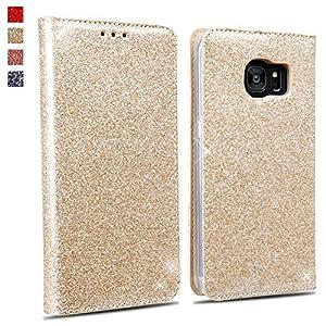 OKZone Galaxy S7 Edge Hülle, Luxus Glitzer Bling Premium PU Leder