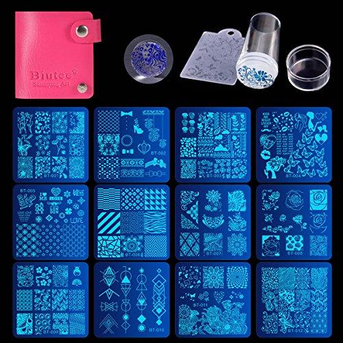Nail Art Stamping 2017 Biutee 12 Placas de Estampacion de Uñas +1 Sello para Unas + 1 Bolsita
