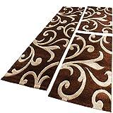 PHC Bettumrandung Läufer Teppich Ranken Muster Barock Braun Beige Läuferset 3 Tlg, Grösse:2mal 80x150 1mal 80x300