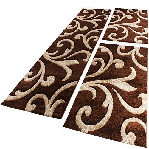 Bettumrandung Läufer Teppich Ranken Muster Barock Braun Beige Läuferset 3 Tlg., Grösse:2mal 80x150 1mal 80x300