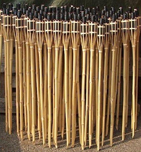 iapyx® Gartenfackel Bambusfackeln Bambus Fackeln Öllampen Windlicht Partylicht Garten Hochzeit Fest Silvester (Beige, 60cm)