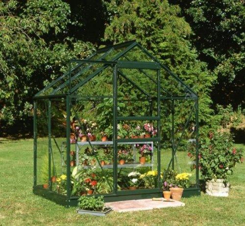 floristikvergleich.de Halls Forest Green beliebten 4 m x 6 m, Gewächshaus (grün) mit grünem Boden und Horticultural Glas