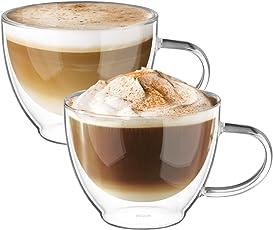 Ecooe Doppelwandige Cappuccino Tassen Glaser Latte Macchiato Glaser Set Thermoglas Trinkgläser Kaffeeglas 2-teiliges 300ml (Volle Kapazität)
