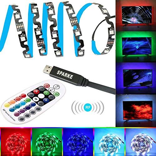 LED Streifen Sparke LED TV Hintergrundbeleuchtung 3m LED Stripe Stripes Kit für 45-70 Zoll TV RGB 5050 LED Lichtband mit RF Fernbedienung USB Powered TV Beleuchtung