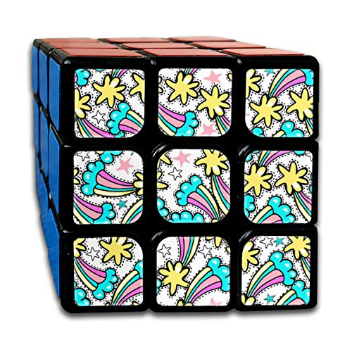 Cute Brightly Pattern with Rainbow Comets and Stars Magic Speed Cubes Sets 3x3x3 Puzzles Toys Solid & Durable (56mm) -