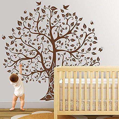Nature-Adesivo da parete, motivo: albero e uccelli da parete adesivi da parete per cameretta dei bambini, motivo: Abstract Tree camera Decorazione da parete, Vinile, marrone, 96