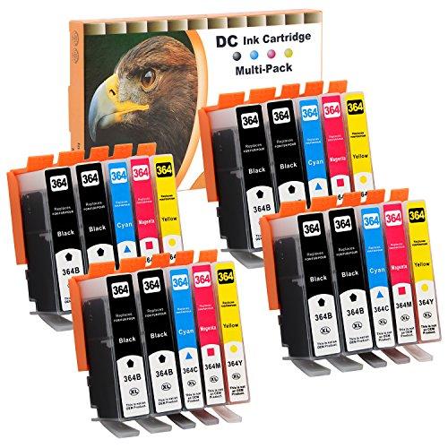 D&C 20 Druckerpatronen 25ml komp. für HP 364 Deskjet 3070A (CQ191B), 3520 (CX052B), 3522 (CX055B), 3524 (CX054B), HP Officejet 4620 (CZ152B), 4622 (CZ296B), Photosmart B109d, 5510, 5514, 5515, 5520, 5522, 5524, 6510, 6520, 7510, 7520 mit Chip