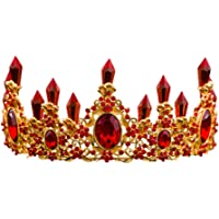 Icegrey Damen Barock Diadem mit Ohrring Königliche Kristall Strass Hochzeit Tiara Krone Festzug Prinzessin Stirnband Diadem