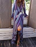UO&Clothes Gaine Robe Femme Sortie Décontracté   Quotidien Plage Sexy Vintage Bohème,Imprimé Col en V Maxi Manches Longues Polyester EtéTaille