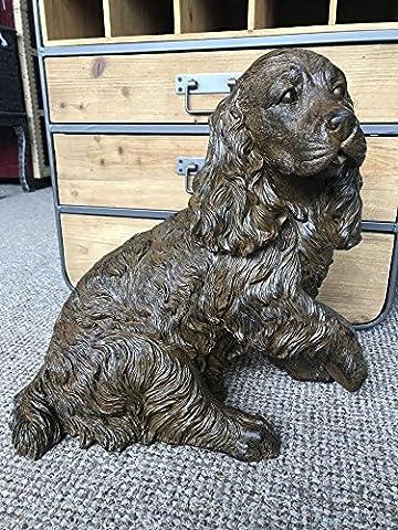 Antique Cocker Spinger Spaniel Dog Garden Statue Ornament Resin Sculpture 40cm