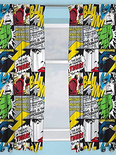 Character World Vorhang Marvel Comics Marvel Comics Design Kinderzimmer Vorhänge - perfekt für jedes Kinderzimmer, 183 cm (Mädchen Für Teen-schlafzimmer-vorhänge)