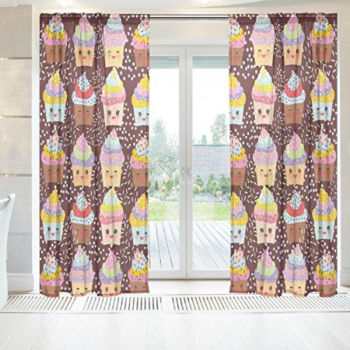 ingbags Elegante Voile Fenster Lange Sheer Vorhang 2Platten Cupcake kawaii Funny Print Tüll Polyester für Tür Fenster Zimmer Dekoration 139,7x 198,1cm, Set von 2, Polyester, mehrfarbig, 55 x 78 Inch (Küche Vorhänge Cupcakes)