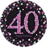 Amscan, prodotto n. 9900604, piatti di carta con decorazioni brillanti, 23 cm, per 40° compleanno