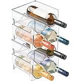 mDesign Ultramodern vinställ – kristallklart flaskställ – horisontellt vinhållare förlänger vin- och korkliv – 4 stapelbara v