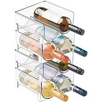 mDesign range-bouteilles (lot de 4) – casier à bouteilles empilable en plastique sans BPA pour 2 bouteilles de vin ou…