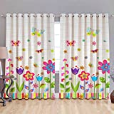 #7: B7 CREATIONS Digital Printed Floral Whiteout Eyelet Window Curtain 1 Piece - 5 Feet, Multicolor