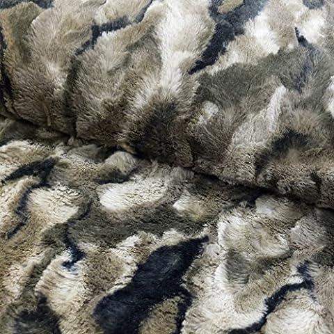 Tejido pelo sintético camuflaje caqui–por 50cm