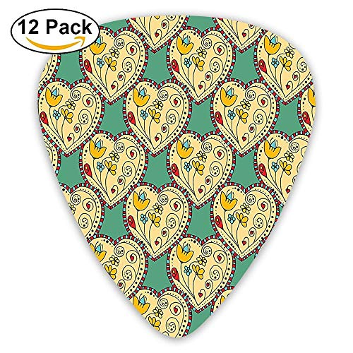 Pattern With Swirling Tulip In Hearts Doodle Style Floral Ornamental Guitar Picks 12/Pack Set Floral Tulip-rock