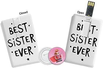 100yellow Rakhi Gift Best Sister Ever Printed 16GB Pen Drive- Ideal for Rakshabandhan Gift for Sister