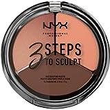 NYX Professional Makeup Palette Sculpting Viso 3 Steps to Sculpt, Palette Contouring, Illuminante e Blush, Nuance: Deep