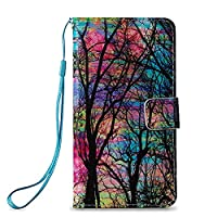 Xperia E5 Case Leather [Free USB Charging Cable], ESSTORE-EU Cartoon Pattern PU Leather Stand Function with Card Slot Holder Wallet Book Design Case for Sony Xperia E5, Forest