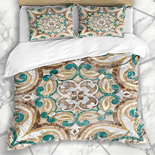 Soefipok Bettbezug-Sets Art Aquarell Vintage italienische marokkanische Muster Retro blau geometrische Patchwork Abstract Design Mikrofaser Bettwäsche mit 2 Pillow Shams -