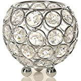 Collectible India Silver Crystal Bowl Candleholder | Home Decorative Votive Tea Light Candle Holder (X-Small)