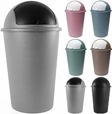 Deuba Abfalleimer 50 Liter Push Can - Schiebedeckel - 68x40cm - grau oder schwarz