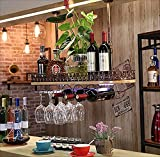 Bar Suspension Bartheke Weinregal Restaurant Haushalt Weingläser Invertiertes Rack Retro Eisenkunst + Massivholz Weinregale (Farbe : C, Größe : 100 * 28 * 12cm)